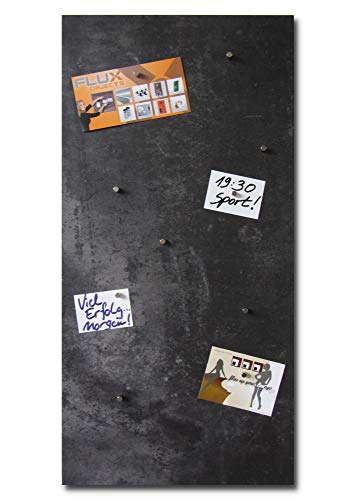 Vinyl-Magnetpinnwand in Stein-/Beton-Optik mit schwarz/grauer Struktur, magnetisches Memo-Board in der Größe 91,5cm x 46cm inkl. 10x Neodymmagnet