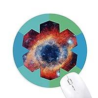 カラフルアイ星雲宇宙アイパターン 円形滑りゴムの雪マウスパッド
