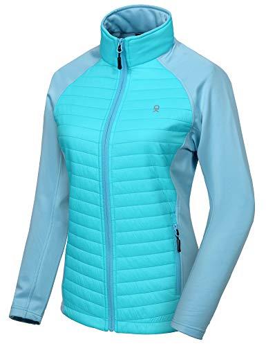 Little Donkey Andy Isolierte Wanderjacke für Damen,Thermo Running Hybrid Jacke, Leicht, atmungsaktiv und warm Blau Glanz XS
