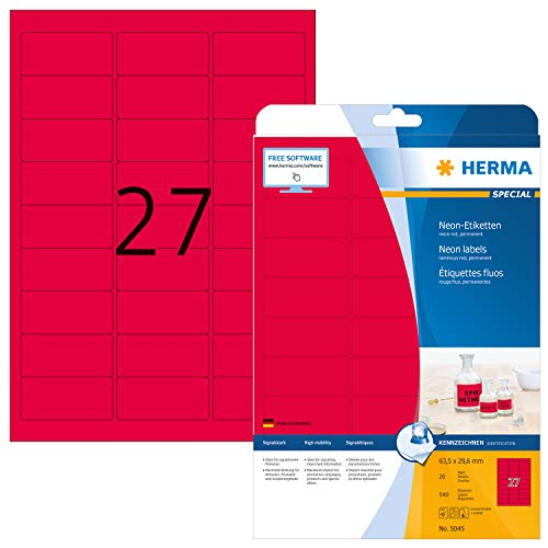 HERMA 5045 Neon-Etiketten DIN A4 (63,5 x 29,6 mm, 20 Blatt, Papier, matt) selbstklebend, bedruckbar, permanent haftende Farbetiketten, 540 Klebeetiketten, neon-rot