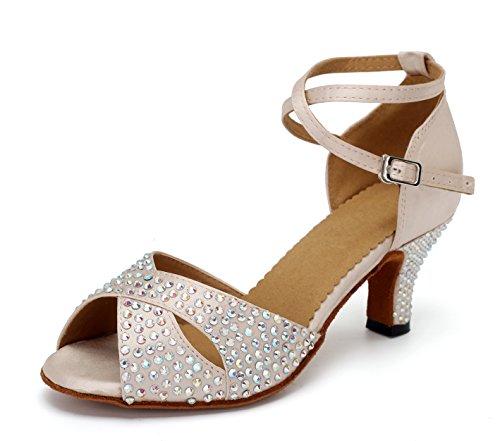 URVIP Nowości damskie buty ze sztucznej skóry poliuretanowej, obcasy z paskiem na kostkę, buty do tańca LD095, beżowy - beżowy - 40 2/3 EU