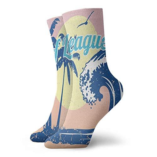 Calcetines suaves de longitud media de pantorrilla, letras de la Liga de Surf con estampado de árboles tropicales y pájaros, calcetines para hombres y mujeres