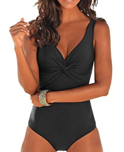 Geval Femmes Bathing Suits V-Cou Une de pièce Maillots Maillots de Bain Dos Nu Swimwear EU 46-48 Noir