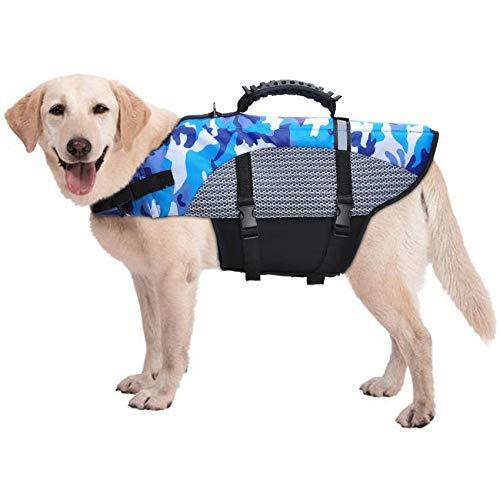 FR&RF Chaleco salvavidas para perro, chaleco salvavidas para perros, salvavidas con asa para seguridad en el agua en la playa, piscina, barco, XL