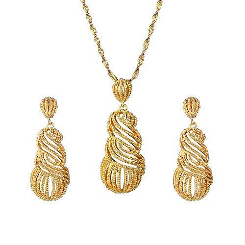 Collar de Color oro etíope Pendientes Anillo Moda africana Nupcial Habesha Eritrea PNG Conjuntos de joyas