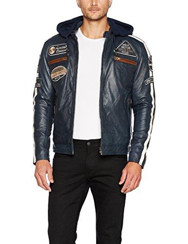 Chaqueta Moto Hombre en Cuero Urban Leather '58 GENTS', Cazadora de Moto de Piel de Cordero, Armadura Removible para Espalda, Hombros y Codos Aprobada CE, Navy Azul, 4XL (UR-15)