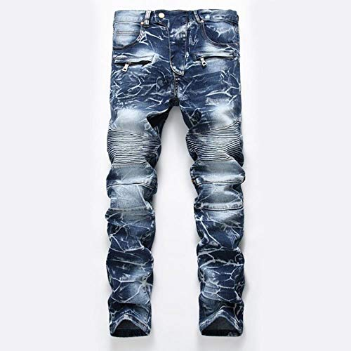 TOSISZ Men Casual Jeans Coated Slim Straight Pleated Biker Jeans Pants Male Denim Casual Pants