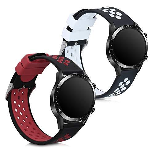 kwmobile Cinturino in Silicone Compatibile con Huawei Watch GT2 (46mm) - 2X Fascetta Fitness Tracker con Fibbia ca. 14-22 cm