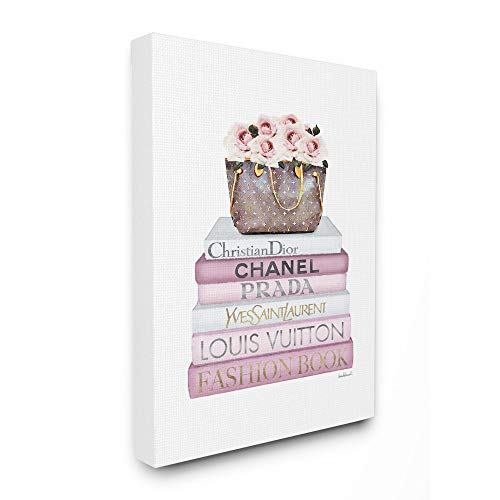 Stupell Industries Fashioner Flower Purse Bookstack Pink White Watercolor, Design by Artist Amanda Greenwood Wall Art, 24 x 30, Canvas