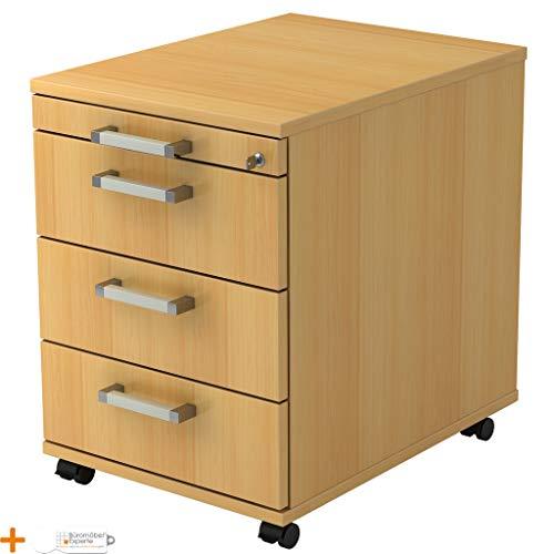 Rollcontainer Schreibtischcontainer Bürocontainer Solid Buche-Buche Chromgriff