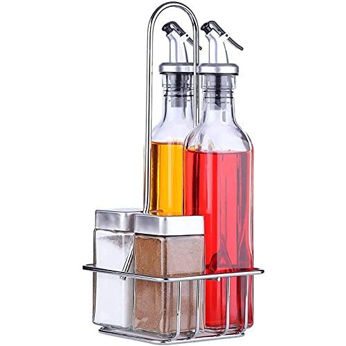 Dispenser Olio e Aceto Set Combo (5 Pezzi) - Include Set Oliera in Vetro, Saliera Sale e Pepe con Base di Supporto - Presenta Beccucci di Rilascio a Leva e Tappi in Acciaio Inox