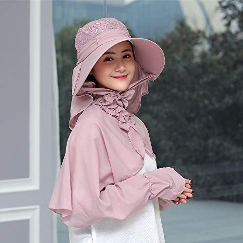 Yarmy Dameshoed, dames outdoor paardrijden plooien zon hoed sjaal vizier zonwering zeer licht en eenvoudig op te vouwen