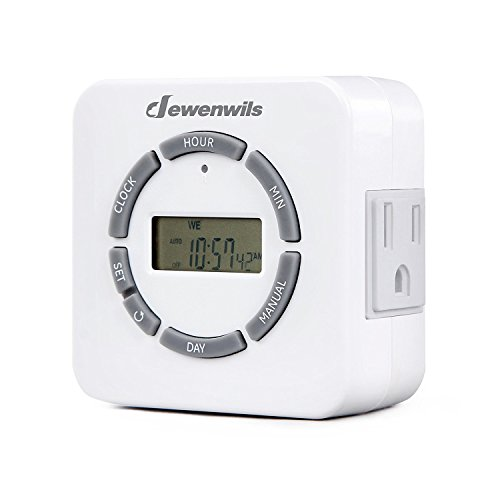 DEWENWILS 7 Day Digital Outlet Timer, 2 Grounded Outlets, Countdown/Random/DST Mode, Up to 20 On/Off Circle, Indoor Plug in Timer for Lights, Christmas Decor, Fish Tank, ETL Listed