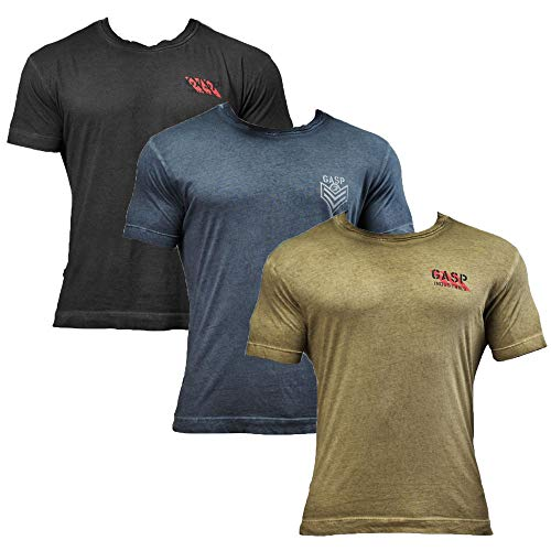 GASP Standard Issue Tee - Fitness und Workout T-Shirt, Größe:M, Farbe:schwarz