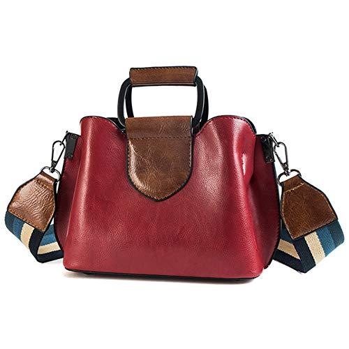 TTZZ Glänzendes Leder Handtaschen Frauen Br getäfelten Handtasche Eisen Hand Doppel Schultergurt Umhängetasche rot22 * 17 * 9cm
