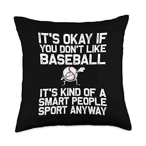 Funny Baseball Gifts Homerun Player Theme Clothing Cool Baseball for Men Women Pitcher Bat Ball Softball Sports Throw Pillow, 18x18, Multicolor