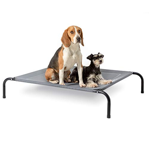 Bedsure Elevated Dog Bed - Large Raised Dog Cot for Large Dogs & Cats - Portable Indoor & Outdoor Pet Bed for Camping or Beach - Cooling Summer Frame with Breathable Mesh - Grey…