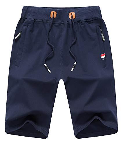 Big Boy's Casual Shorts Summer Cotton Classic Fit Elastic Waist Shorts with Zipper Pockets L Navy Blue