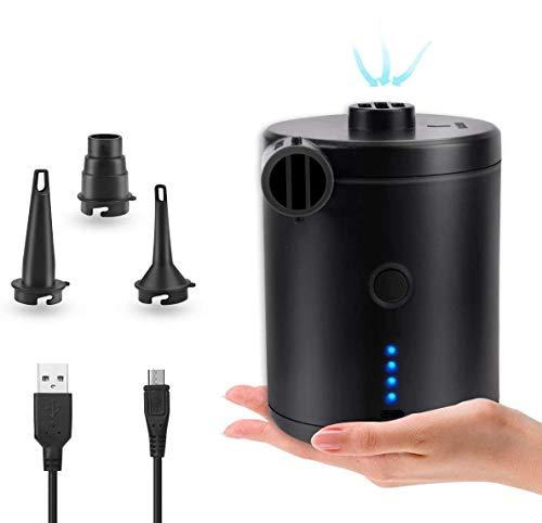 BACKTURE Elektrische Luftpumpe, USB Pumpe mit 3 Luftdüse , 2 in 1 Aufblasen und Entleeren Elektropumpe Power Pump für Aufblasbare, Luftmatratze, Matratze, Kissen,Schwimmring,Bett, Boot