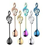 XYW Cuchara de Postre - la Nota Musical de Acero Inoxidable de Picnic Cuchara de Cocina Cuchara de café Helado de Postre Cuchara té (Color : Set)