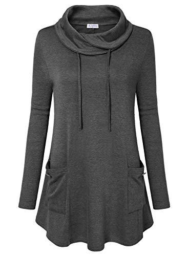 Bulotus Sweaters for Women Cowl Neck Tunic Tops Sweatershirt Long Sleeve with Pocket, Grey, Medium
