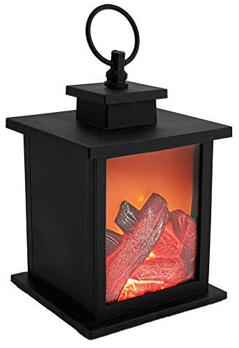 LED-Tischkamin mit flammensimulation Feuer-Leuchteffekt Kaminfeuer - Batteriebetrieben - Kamin Deko Flammeneffekt schwarz (21,5cm)