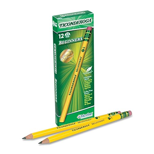 Dixon Ticonderoga Beginners Primary Size #2 Pencils Without Erasers, Yellow (13080) (4-Pack of 12)