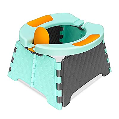 L LESTAVEN Foldable Toilet Trainer Baby Potty Seat with Splash Guard Portable Potty Training Seat for Toddler Kids Travel Potty for Indoor and Outdoor (Blue)