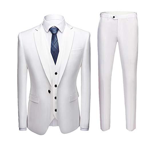 Herren Anzug Slim Fit 3 Teilig mit Weste Sakko Anzughose Business Hochzeit Party Smoking Weiß L