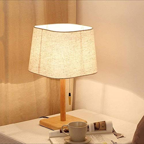 Wuyuana Luz de Techo Lámparas De Mesa Duraderas Lámparas De Escritorio Simple Lino Craft Lámpara De Mesa Interruptor De Tirón Base De Madera Maciza