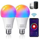 Alexa Smart Glühbirne, AISIRER E27 WLAN Lampen, 2er Pack, Mehrfarbige Dimmbar,...