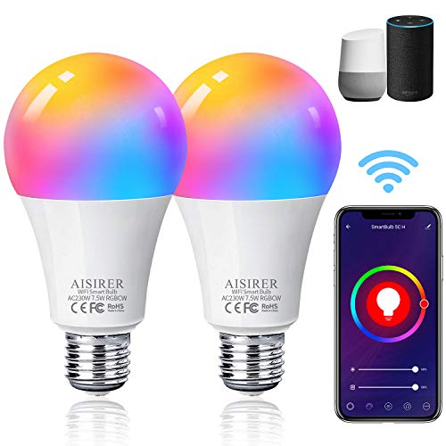 Alexa Smart Glühbirne, AISIRER E27 WLAN Lampen, 2er Pack, Mehrfarbige Dimmbar, Warmweiß/Tageslicht, APP-Steuerung Wifi LED Birne, Kompatibel mit Alexa Echo, Echo Dot, Google Home, kein Hub benötigt