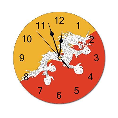 VinMea Reloj de pared decorativo con la bandera de Bután divertido reloj de pared redondo silencioso para oficina, cocina, dormitorio, sala de estar, 30 cm