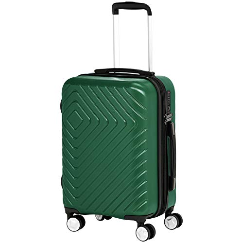 AmazonBasics Geometric Travel Luggage Expandable Suitcase Spinner with Wheels and Built-In TSA Lock, 21.7-Inch - Green