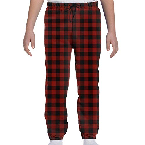 Adolescents Garçons Filles Pantalons de survêtement Jogging Pantalon de Sport ou de détente, Angleterre Shaker Barn Red Buffalo Check Plaid