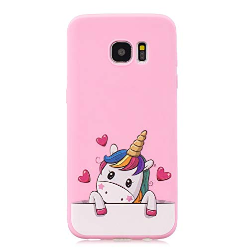 HopMore Funda para Samsung Galaxy S7 Edge Silicona con Cordón Dibujos Divertidas 3D Carcasa Galaxy S7 Edge Resistente TPU Blando Case Kawaii Fina Antigolpes Caso Gracioso Thin - Unicornio Rosa