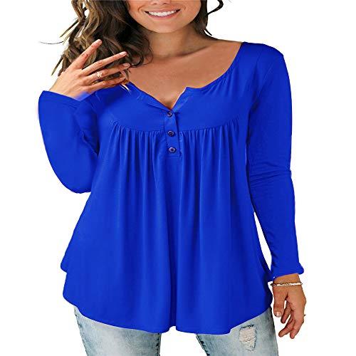 SFYZY Camisa de Mujer con Volantes Suelta botón de Color sólido botón de Mujer con Cuello en v...