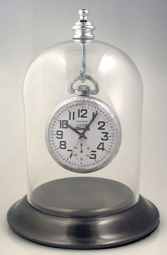 3″x4″ Pocket Watch Glass Display Dome Cloche with Satin Silver Chrome Base with Hook