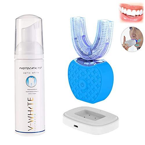 Elektrische Zahnbürste Papasbox 360 ° Vollautomatisch Elektrische Schallzahnbürste mit Zahnpasta &4 Reinigungs-Modi, 1,5 Stunden Kabelloses Laden für über 7 Tage,IPX7 Wasserdicht,Blau