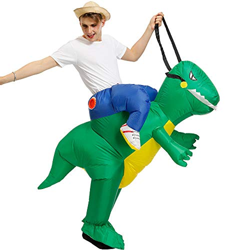 CIVIKY Aufblasbare Kostüme Halloween Lustiges Cosplay Gaint Anzug Cosplay für Audlts mit aufblasbarem USB-Lüfter + Batteriefach (Reitdinosaurier)-Grün