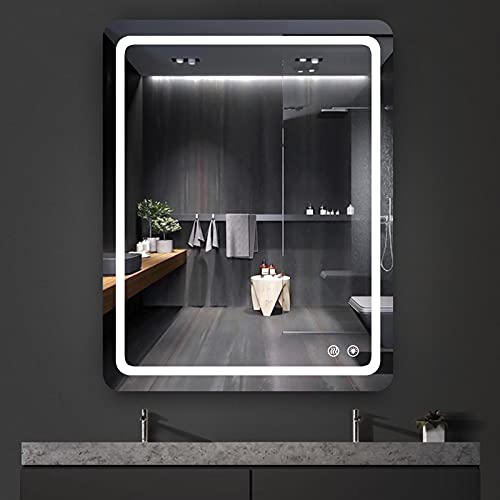 Bathroom mirror with led lights dimmable anti-fog backlit wall mounted...