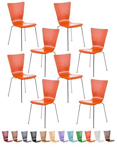 CLP 8X Stapelstuhl Aaron mit Holzsitz und stabilem Metallgestell I 8X Platzsparender Stuhl mit pflegeleichter Sitzfläche I Set mit 8 Stühlen I erhältlich, Farbe:orange