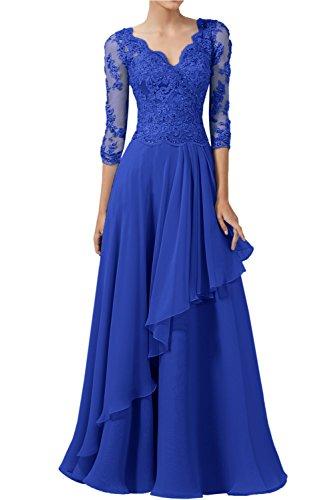 Victory Bridal Herrlich Spitze Langarm Abendkleider Ballkleider V Ausschnitt Lang Chiffon Brautmutter Partykleider -40 Royal Blau