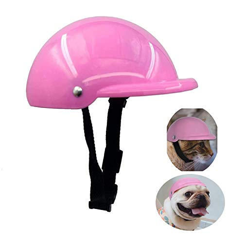 GUGELIVES Pet Dog Helmet Doggie Hardhat for Puppy Chihuahua Blind Ridding Motorcycles Bike Outdoor Activities Protect Head Sunproof Rainproof Pet Supplies for Small Medium Big Dogs Helmet(S, Pink)