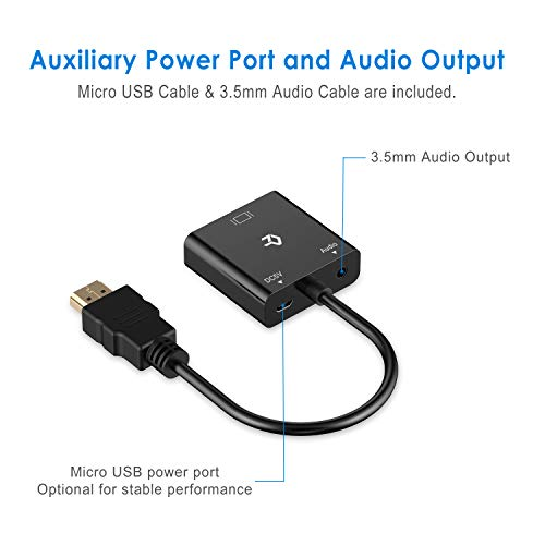 Rankie HDMI to VGA Adapter with 3.5mm Audio Port - Black