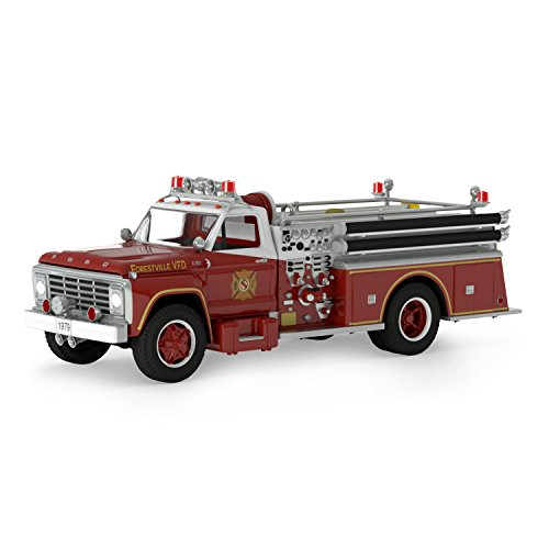 Hallmark Keepsake 2017 Fire Brigade 1979 Ford F-700 Fire Engine Dated Christmas Ornament With Light