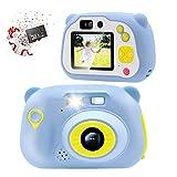 Veroyi 32GB Kids Camera 15.0MP wiederaufladbare Digitale Kamera vorne und hinten Selfie-Kamera Kind Camcorder, Spielzeug Geschenk für 4-10 Jahre alte Jungen und Mädchen (Blau)