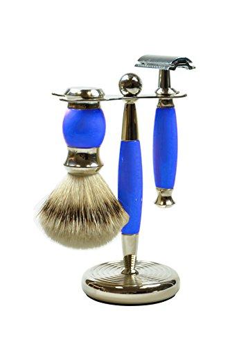 Golddachs Rasierset mit Rasierpinsel (100 Prozent Silberzupf) und klassischem Rasierhobel, blau/silber, 1er Pack (1 x 2 Stück)