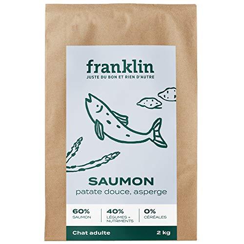 Franklin - Croquettes sans Céréales – Chat Adulte Stérilisé - 100% Naturel - Hypoallergéniques – Digestion Parfaite – Saumon, Patate Douce, Asperge - 2kg
