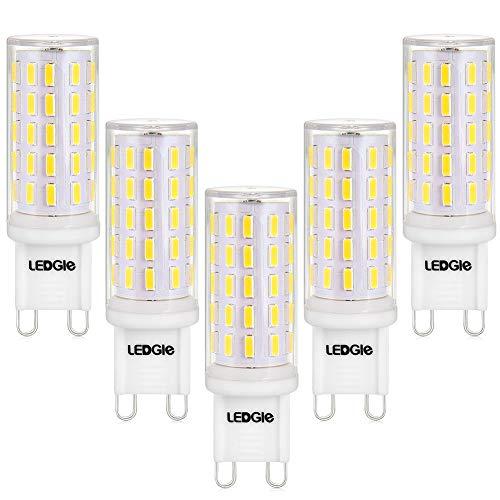 LEDGLE G9 LED Lampen Kein Flimmern, Nicht Dimmbar, 6W ersetzt 60W Halogenlampen, 420LM, Kaltweiß 6000K,5er Pack